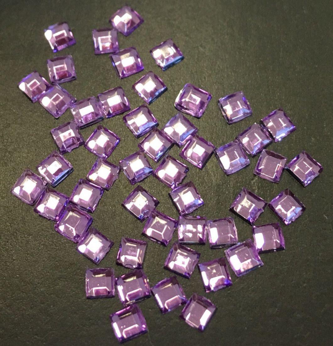 Стразы пластиковые квадрат 2,2х2,2мм уп/50шт (лаванда)