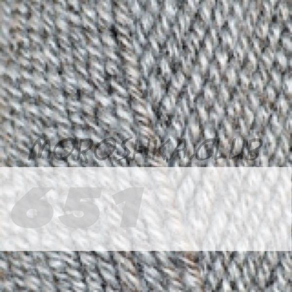 Бело-чёрный меланж Lanagold Alize (цвет 651)