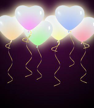 Светящиеся шарики и сердца