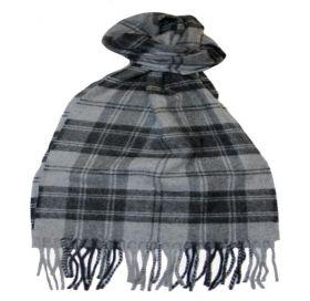 шарф 100% драгоценный кашемир , расцветка  клан Дуглас Грэй(Серый)