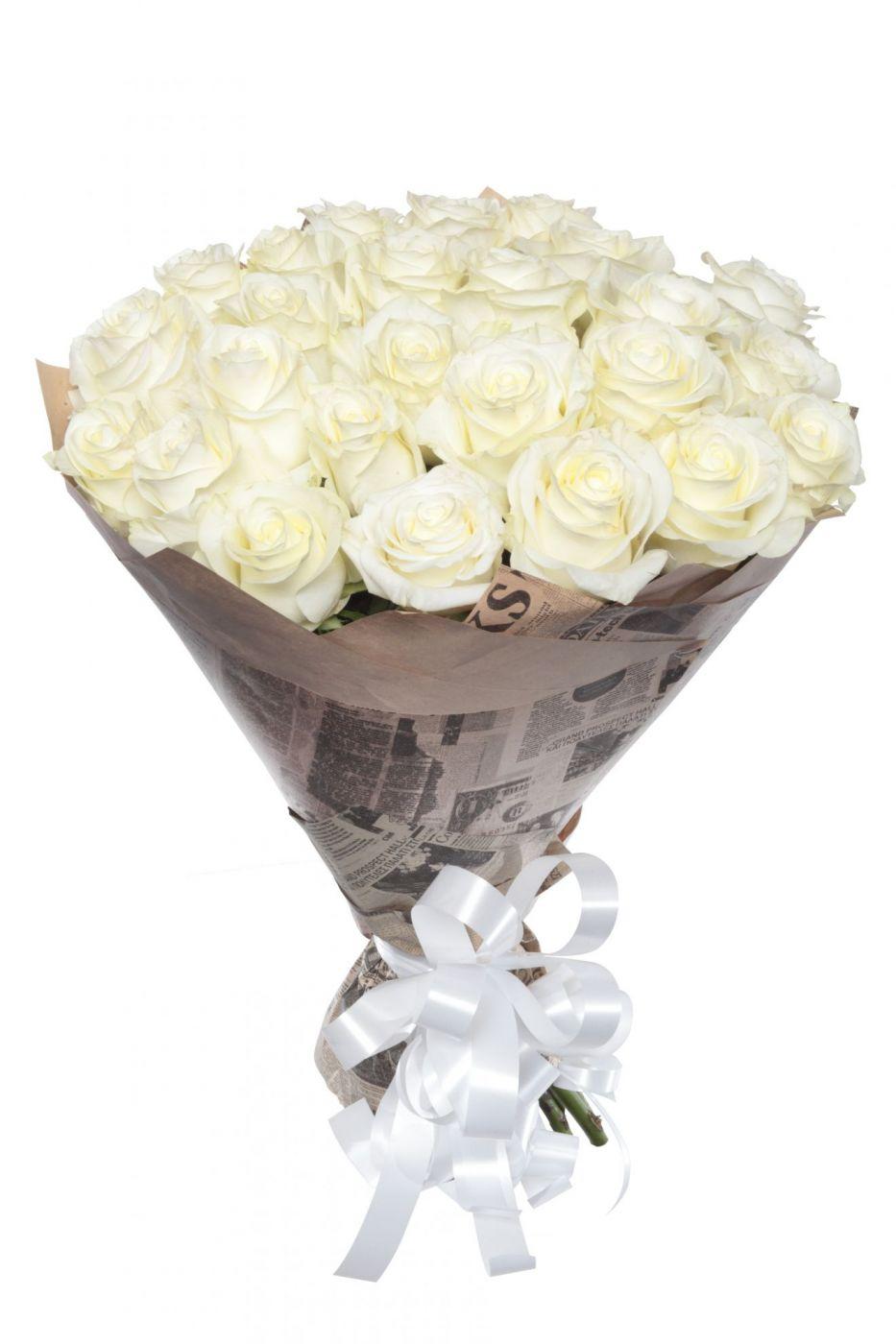 Букет из 25 роз белых эквадорских