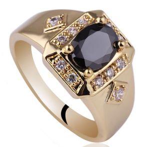 Позолоченное кольцо с искусственными ониксом и бриллиантами (арт. 260115)