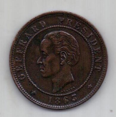 20 сантимов 1863 г. AUNC. Гаити