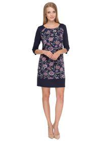 """Платье """"Камила"""" синее с сиреневыми цветами для беременных и кормящих"""