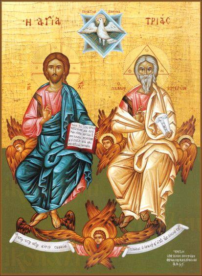 Новозаветная Троица - Сопрестолие (рукописная икона)