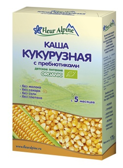 Флёр Альпин - каша Безмолочная Органик кукурузная , 5 мес., 175 гр.