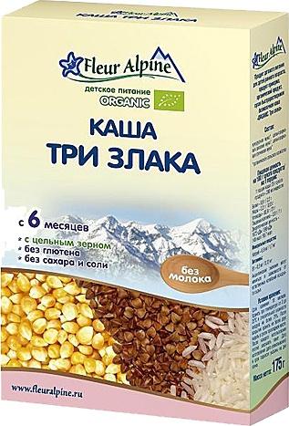 Флёр Альпин - каша Безмолочная Органик Три злака, 6 мес., 175гр