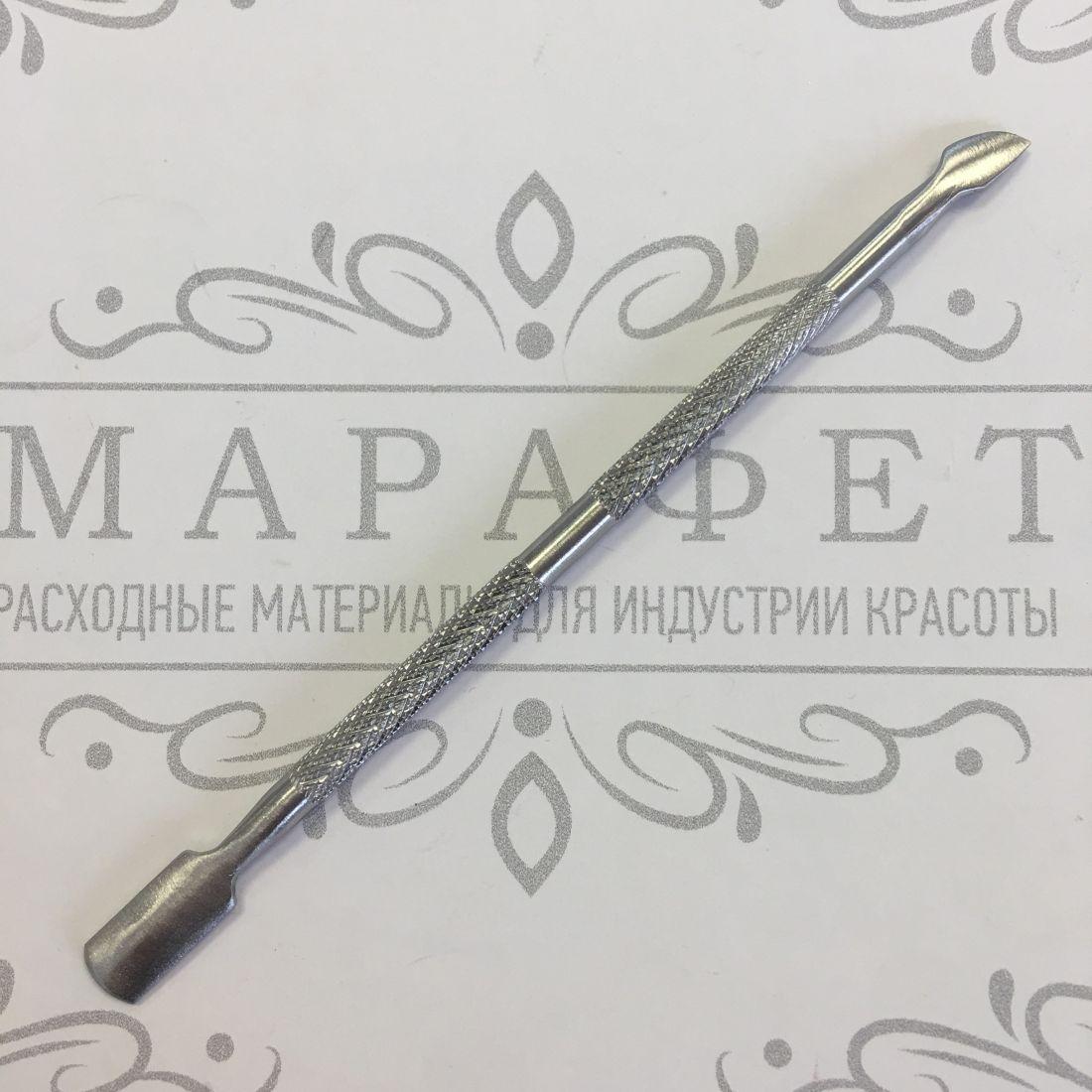 Пушер двухсторонний для маникюра и педикюра 12 см (узкая лопатка)