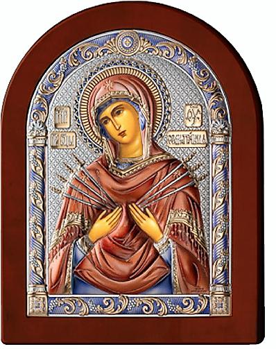 Серебряная икона Богоматерь Семистрельная (Италия, цветной лак, повышенное качество!)