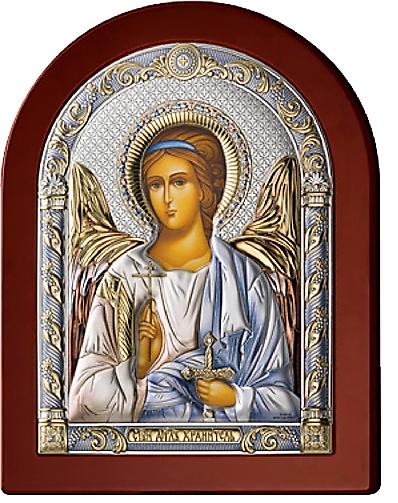 Серебряная икона Ангел Хранитель (Италия, цветной лак, повышенное качество!)