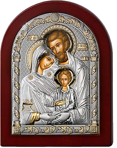 Серебряная икона Святое Семейство (Италия, прозрачный лак, повышенное качество!)