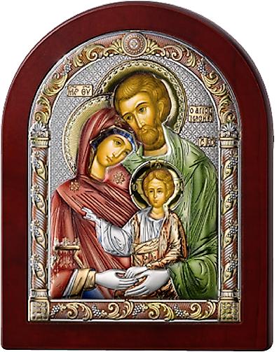 Серебряная икона Святое Семейство (Италия, цветной лак, повышенное качество!)