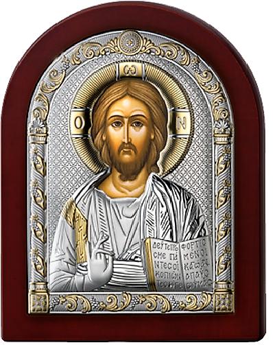 Серебряная икона Иисус Христос Спаситель (Италия, прозрачный лак, повышенное качество!)