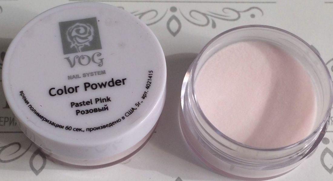 Акриловая пудра VOG пастельно-розовая 5гр США