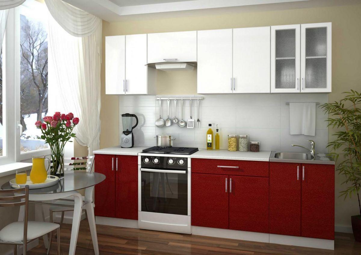 Кухонный гарнитур (Фасады МДФ - гранат + белый) - эконом