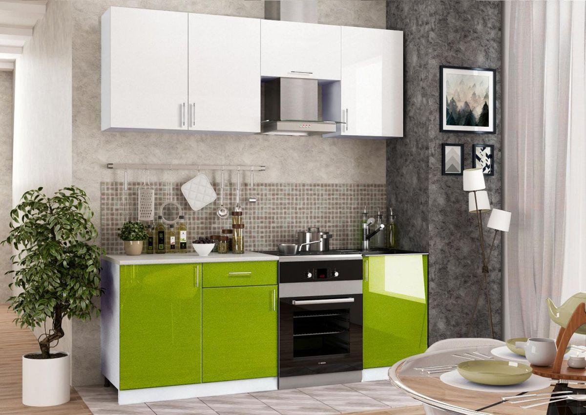Кухонный гарнитур (Фасады МДФ - олива + белый) - эконом