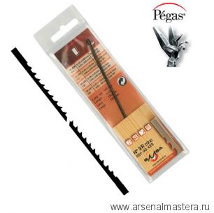 Пилки лобзиковые Pegas по дереву N5R Skip Reverse 0.45х1.15х130мм 12tpi,  доп. обратный зуб 12штук М00008142