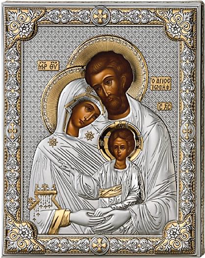 Серебряная икона Святое Семейство (листовое серебро, Италия, прозрачный лак, повышенное качество)