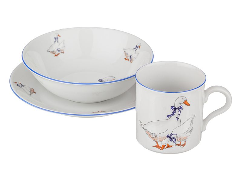 "Набор посуды 3 пр.""Гуси"": тарелка+миска+кружка, 19/16 см. 250 мл., h=8 см."
