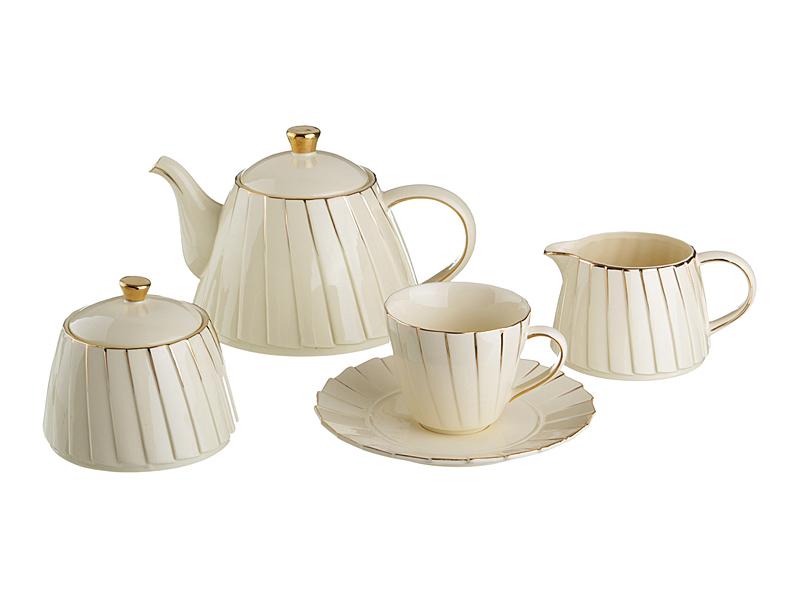 "Чайный сервиз на 6 персон ""Плиссе"", 15 пр., 1000/400/350/200 мл"