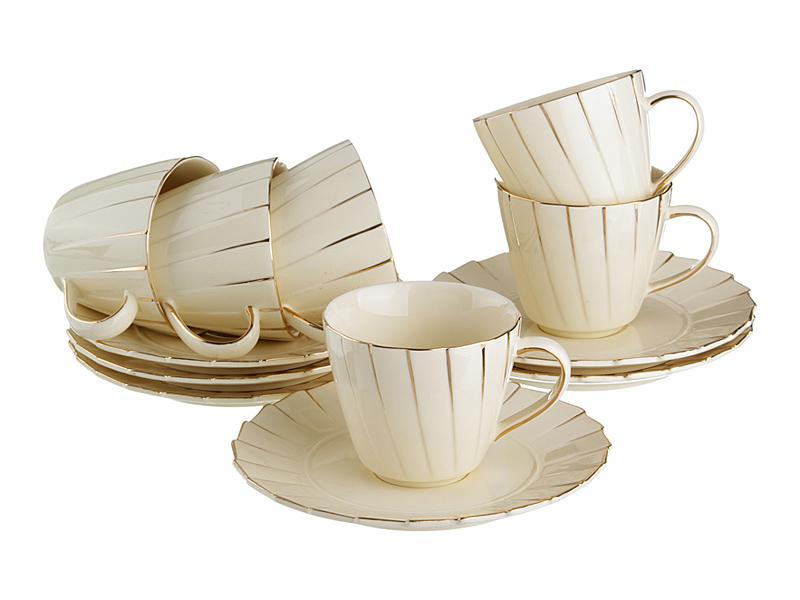 """Чайный набор на 6 персон """"Плиссе"""", 12 пр., 200 мл"""