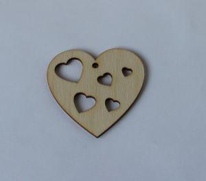 """`Заготовка """"Сердце с вырезными сердечками""""  высота 7 см, фанера 3 мм"""