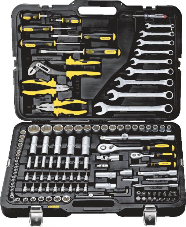 Универсальный набор инструментов 128 предметов BERGER BG128-1214