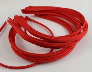 Ободок металл обтянутый тканью 5 мм, цвет: красный (1уп = 12шт)