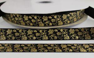 Лента репсовая с рисунком, ширина 22 мм, длина 10 метров цвет: черный, Арт. ЛР5617-8