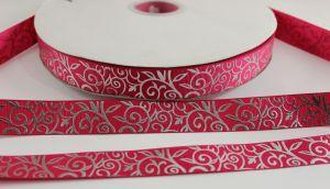 Лента репсовая с рисунком, ширина 22 мм, длина 10 метров цвет: ярко-розовый, Арт. ЛР5370-1