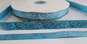 Лента репсовая с рисунком, ширина 22 мм, длина 10 метров цвет: голубой, Арт. ЛР5370-2