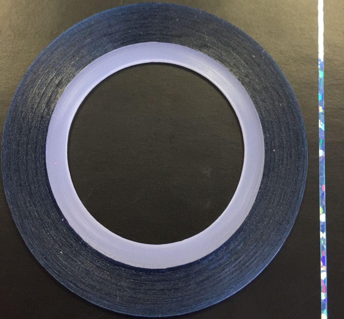 Наклейка-лента для дизайна ногтей в рулоне (0.8мм) голограмма (голубой)