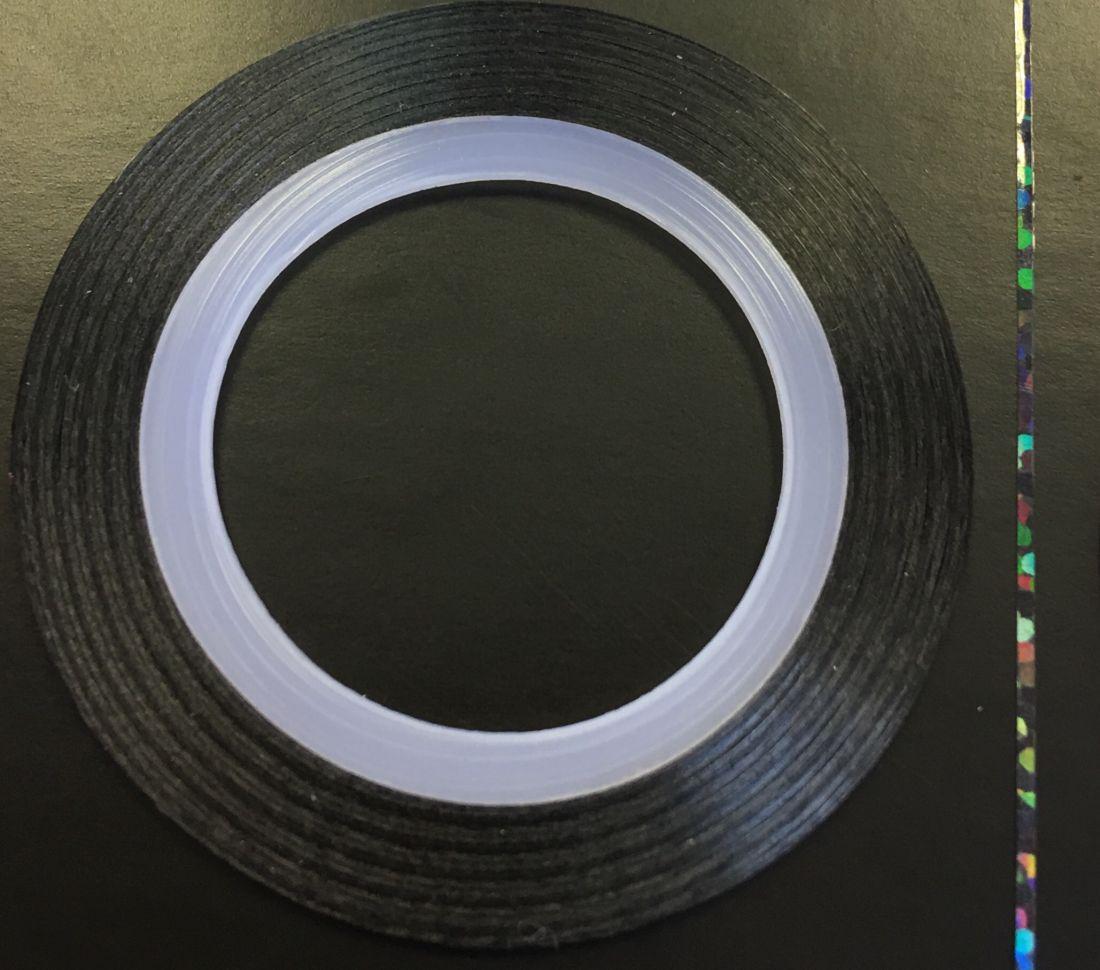 Наклейка-лента для дизайна ногтей в рулоне (0.8мм) голограмма (черный)