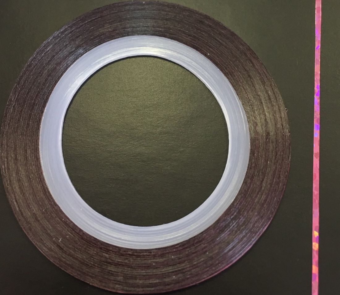 Наклейка-лента для дизайна ногтей в рулоне (0.8мм) голограмма (розовый)