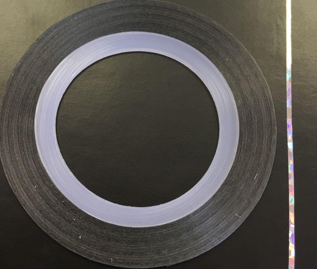 Наклейка-лента для дизайна ногтей в рулоне (0.8мм) голограмма (серебро)