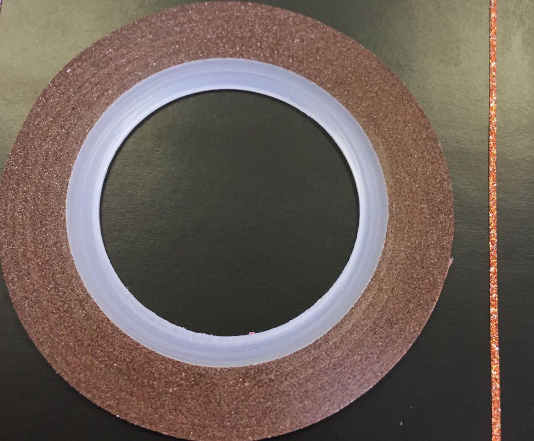 Наклейка-лента для дизайна ногтей в рулоне (0.8мм) мерцание (оранжевый)
