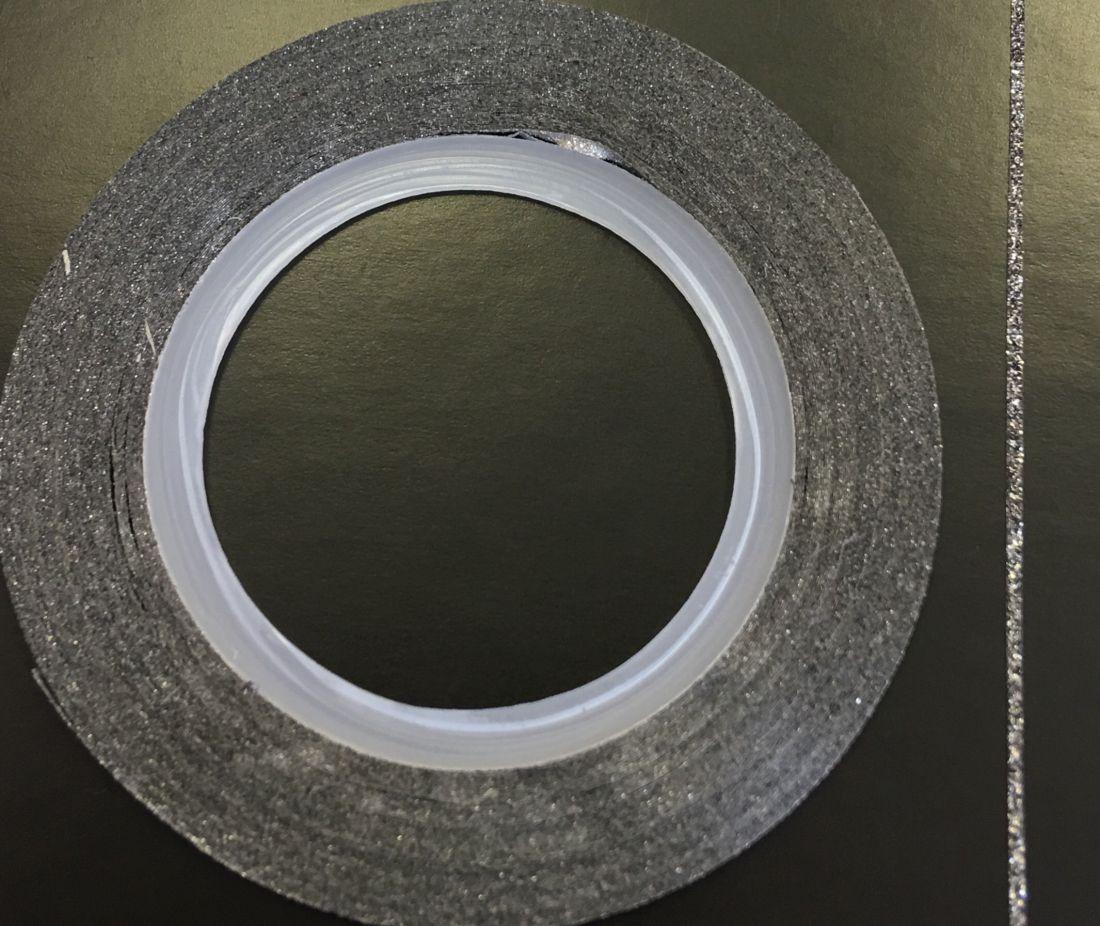 Наклейка-лента для дизайна ногтей в рулоне (0.8мм) мерцание (графит)