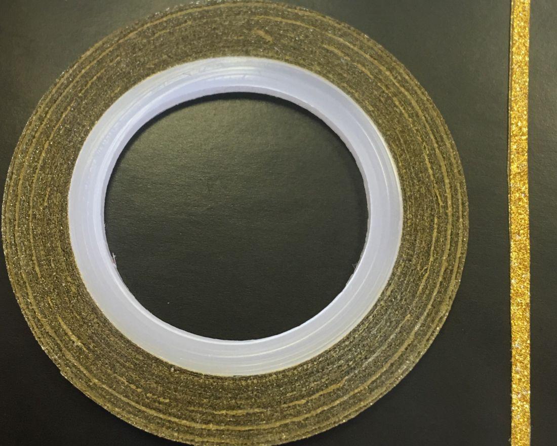 Наклейка-лента для дизайна ногтей в рулоне (2мм) мерцание (золото)