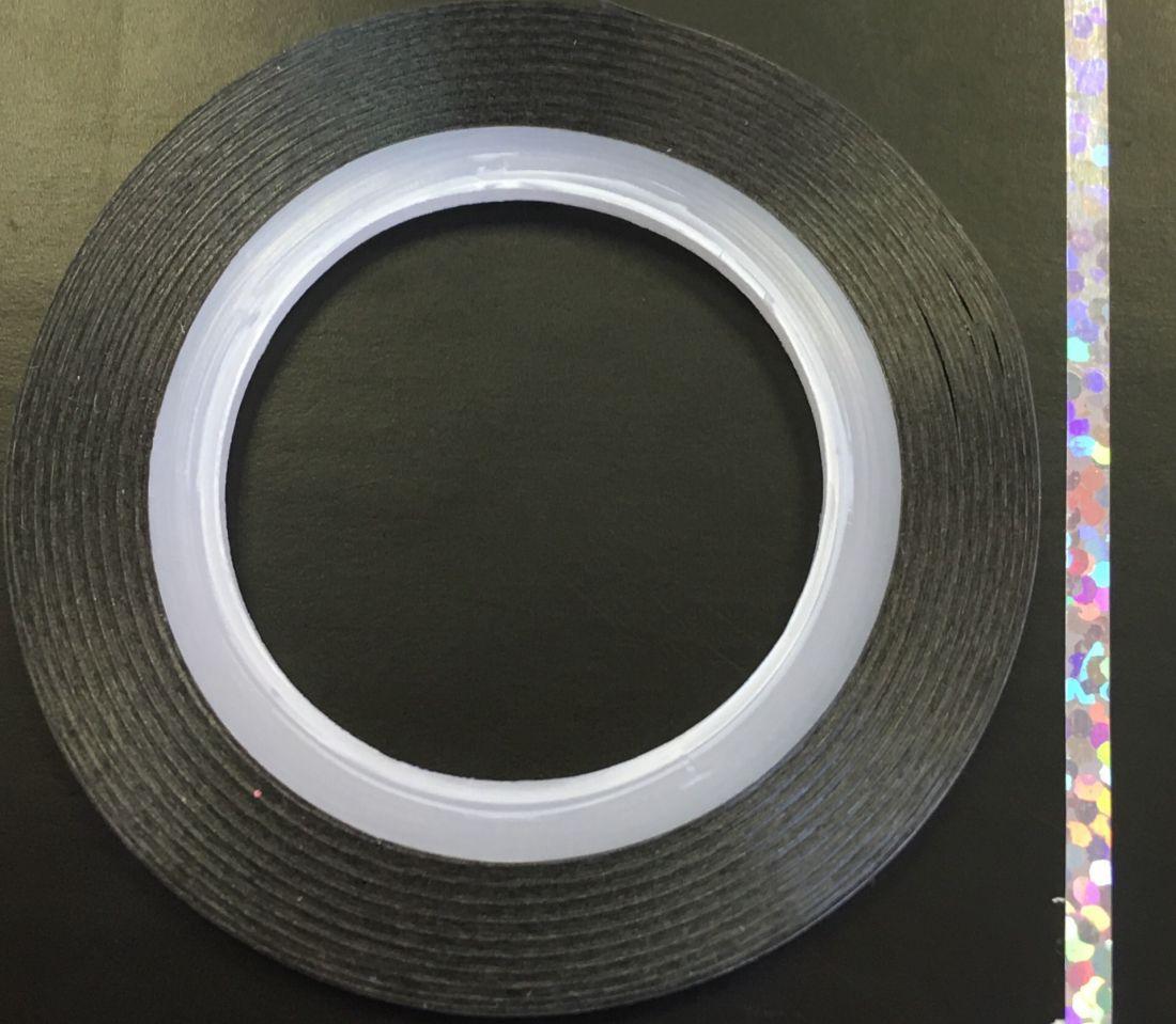 Наклейка-лента для дизайна ногтей в рулоне (2мм) голограмма (серебро)
