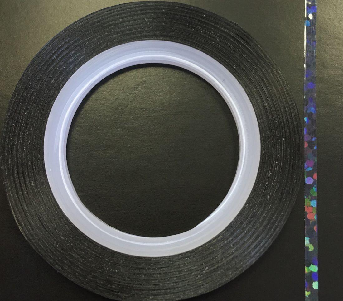 Наклейка-лента для дизайна ногтей в рулоне (2мм) голограмма (черный)