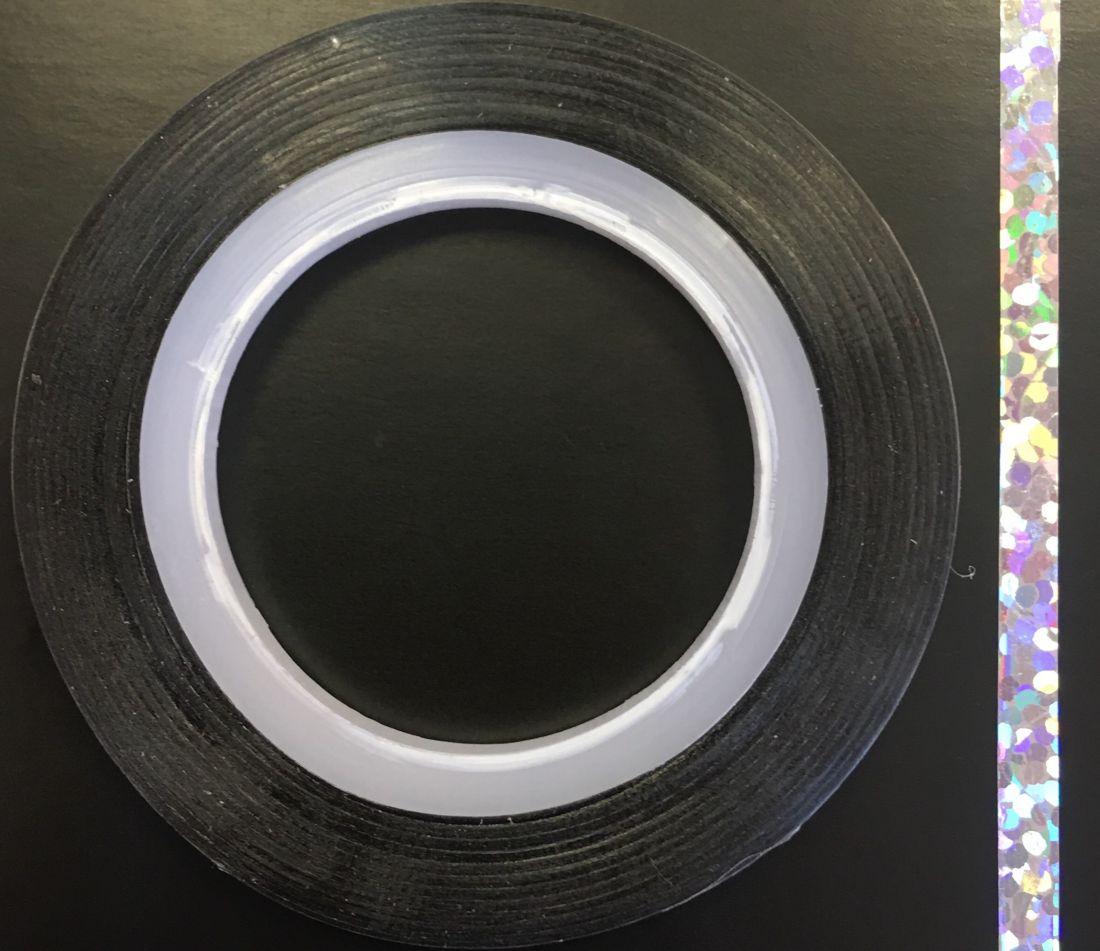 Наклейка-лента для дизайна ногтей в рулоне (3мм) голограмма (серебро)