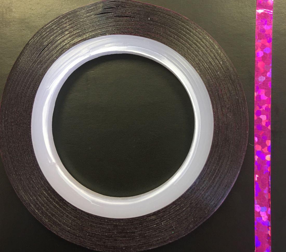 Наклейка-лента для дизайна ногтей в рулоне (3мм) голограмма (фуксия)