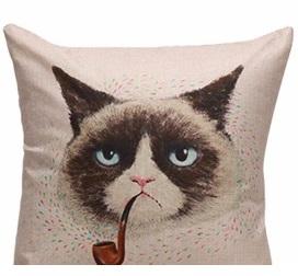 Дизайнерская подушка грустный Кот