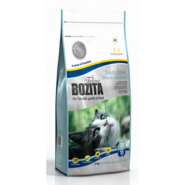 Корм сухой Bozita Feline Sensitive Diet & Stomach для кошек с лосем 0.4кг