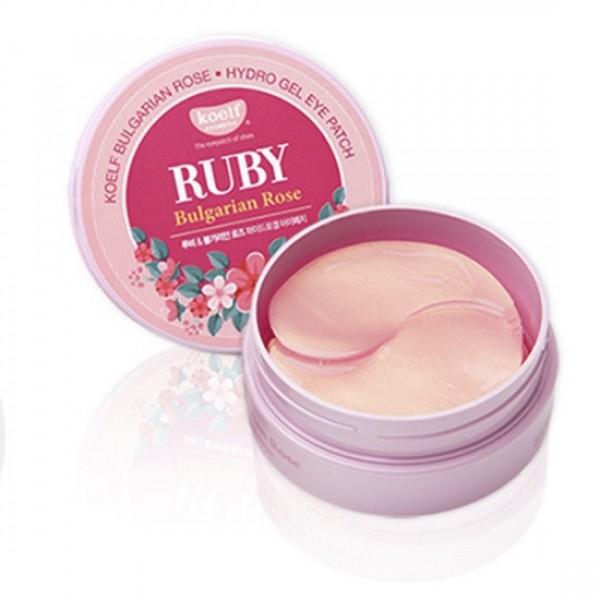 Корейские патчи для глаз гидрогелевые с маслом болгарской розы Koelf Ruby & Bulgarian Rose Eye Patch
