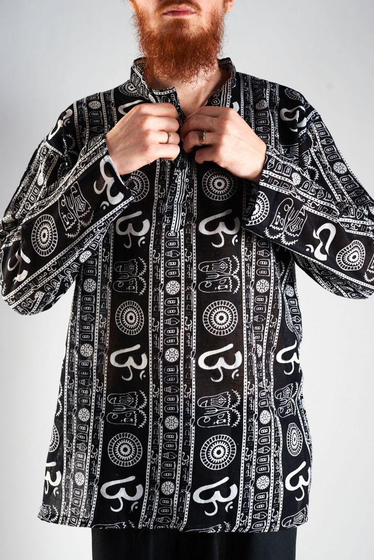 Чёрная мужская индийская рубашка Символ ОМ (отправка из Индии)
