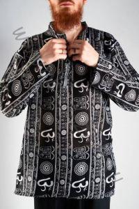 Чёрная мужская индийская рубашка Символ ОМ