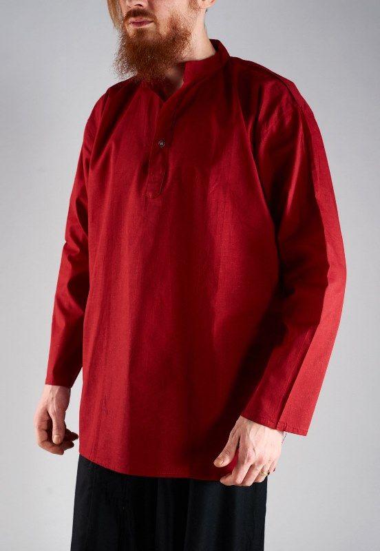 Бордовая мужская рубашка из хлопка