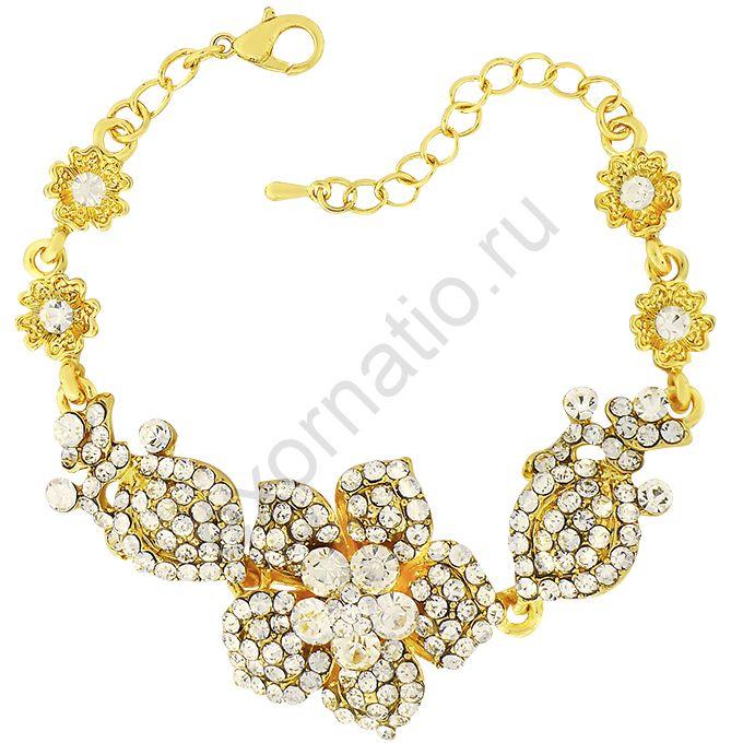 Браслет Crystal Shik 43629-1745.Браслет под золото