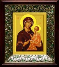 Тихвинская икона Божьей Матери (21х24), киот со стразами